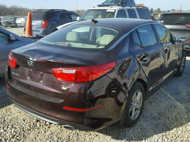 5XXGM4A78EG289818   2014 KIA OPTIMA LX RED Photo 4