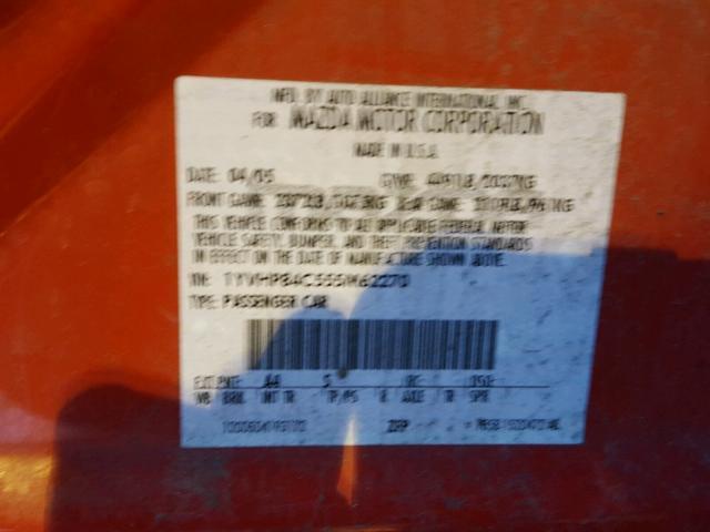 1YVHP84C555M62270 - 2005 MAZDA 6 I RED photo 10