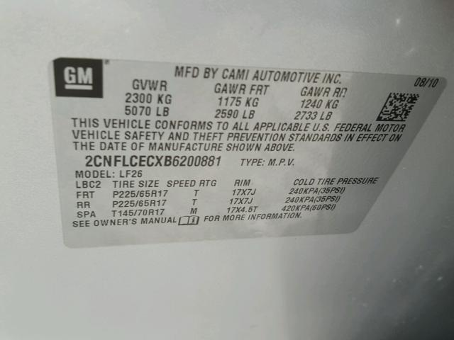 2CNFLCECXB6200881 - 2011 CHEVROLET EQUINOX LS SILVER photo 10