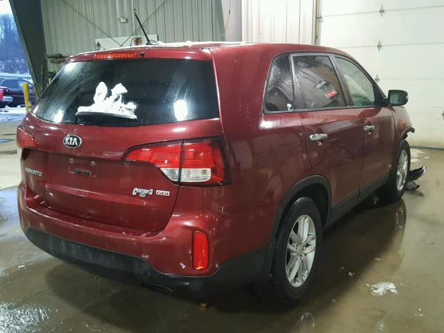 5XYKTCA66EG514439   2014 KIA SORENTO LX RED Photo 4
