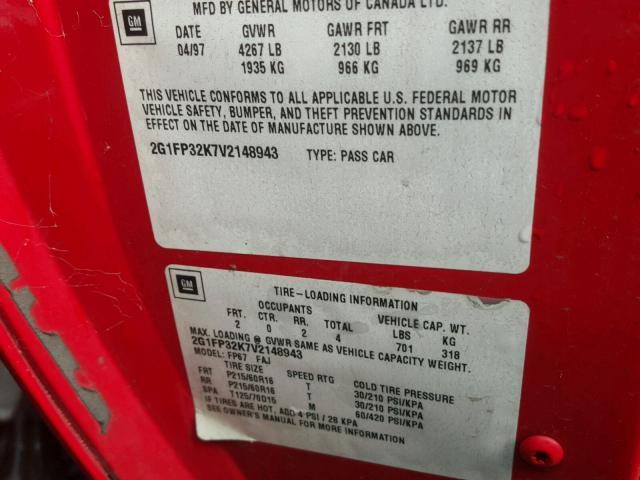 2G1FP32K7V2148943 - 1997 CHEVROLET CAMARO BAS RED photo 10