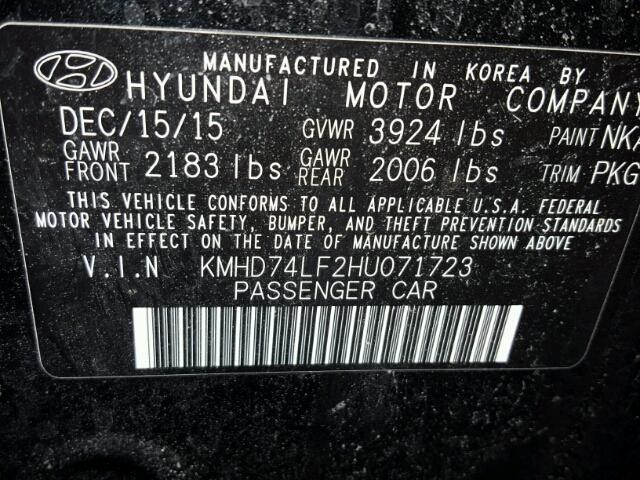 KMHD74LF2HU071723 - 2017 HYUNDAI ELANTRA SE BLACK photo 10