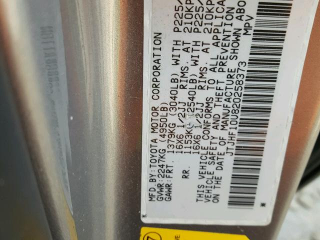 JTJHF10U820258373 - 2002 LEXUS RX 300 GRAY photo 10