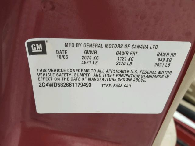 2G4WD582661179493 - 2006 BUICK LACROSSE C RED photo 10