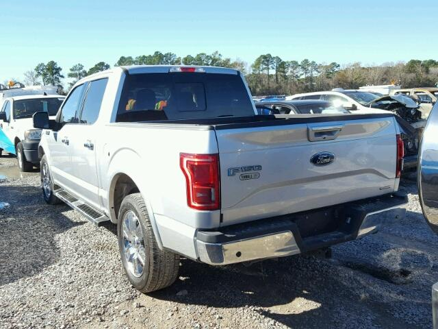 1FTEW1CF9GKF03194 - 2016 FORD F150 SUPER SILVER photo 3