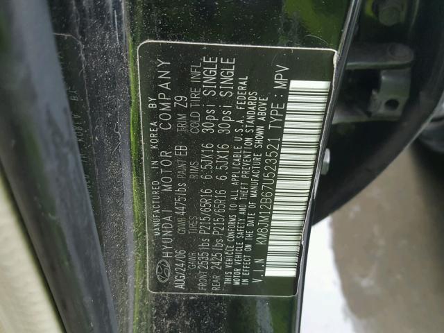 KM8JM12B67U523521 - 2007 HYUNDAI TUCSON GLS BLACK photo 10