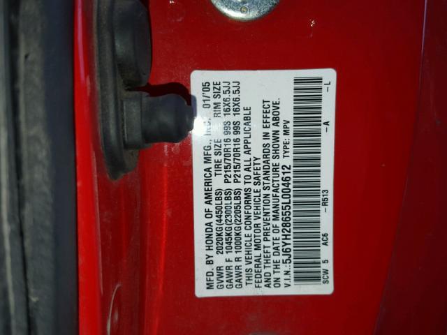 5J6YH28655L004612 - 2005 HONDA ELEMENT EX RED photo 10