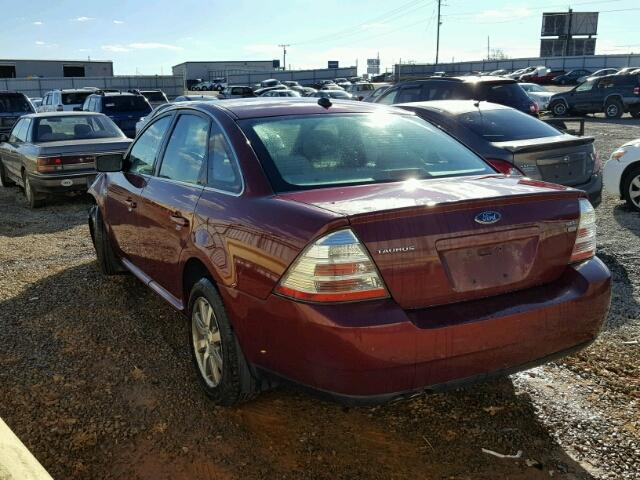 1FAHP27W48G156054 - 2008 FORD TAURUS SEL BURGUNDY photo 3