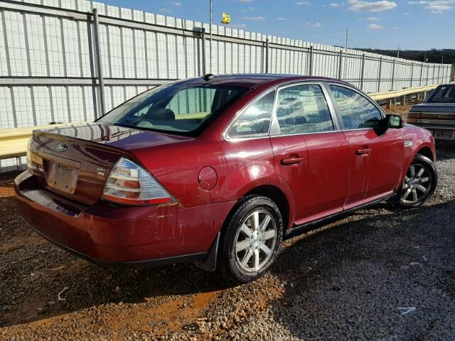 1FAHP27W48G156054 - 2008 FORD TAURUS SEL BURGUNDY photo 4