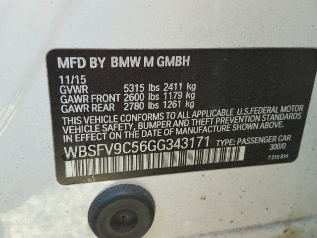 WBSFV9C56GG343171 - 2016 BMW M5 WHITE photo 10