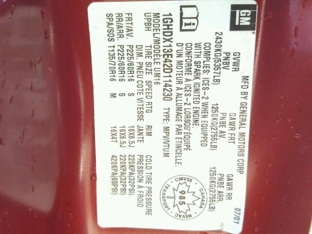 1GHDX13E42D114230 - 2002 OLDSMOBILE SILHOUETTE RED photo 10