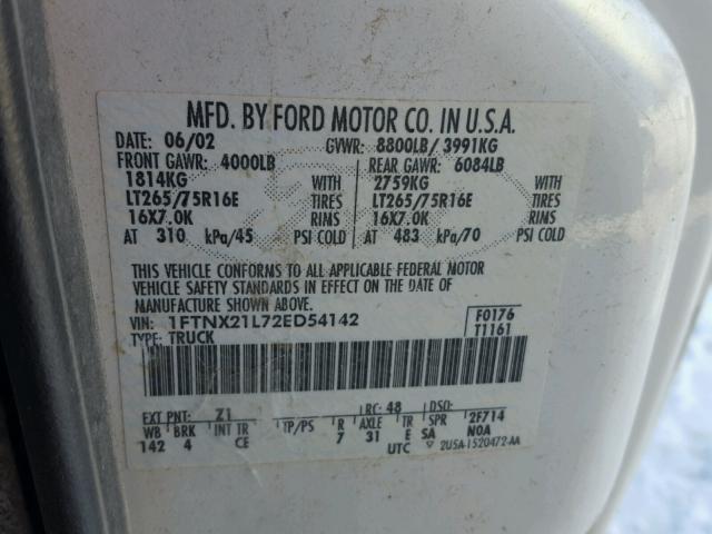 1FTNX21L72ED54142 - 2002 FORD F250 SUPER WHITE photo 10