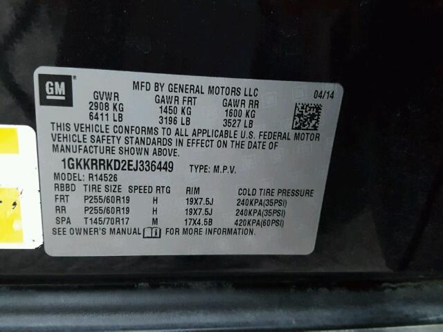1GKKRRKD2EJ336449 - 2014 GMC ACADIA SLT BLACK photo 10