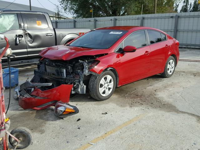 KNAFK4A69G5502689 - 2016 KIA FORTE LX RED photo 2