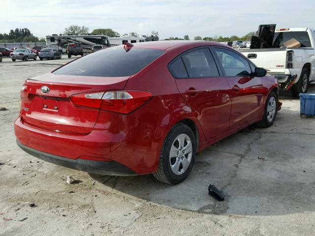 KNAFK4A69G5502689 - 2016 KIA FORTE LX RED photo 4