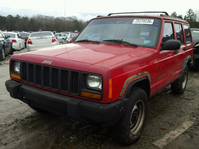 1J4FT28S8VL605824 - 1997 JEEP CHEROKEE S RED photo 2