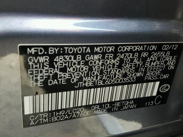 JTHBE1BL6D5003533 - 2013 LEXUS GS 350 GRAY photo 10