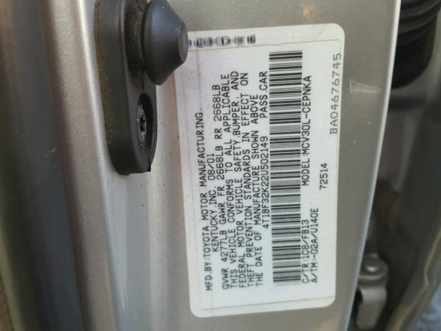 4T1BF32K22U502149 - 2002 TOYOTA CAMRY LE SILVER photo 10