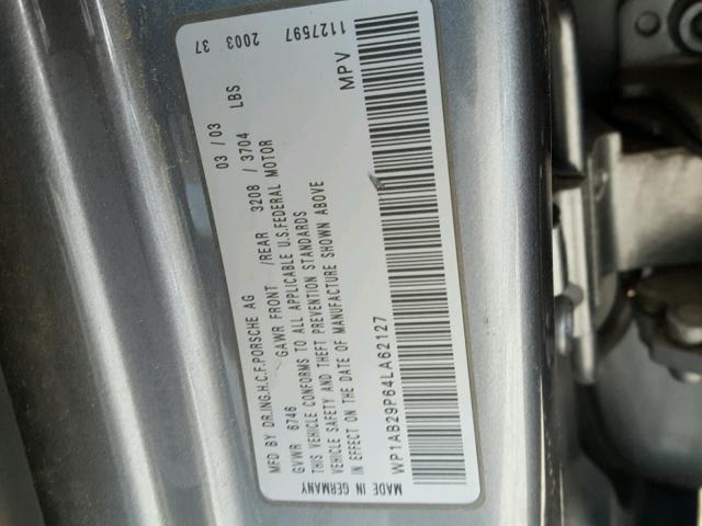 WP1AB29P64LA62127 - 2004 PORSCHE CAYENNE S GRAY photo 10