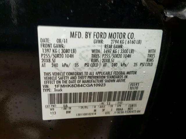 1FMHK8D84CGA10923 - 2012 FORD EXPLORER X BLACK photo 10