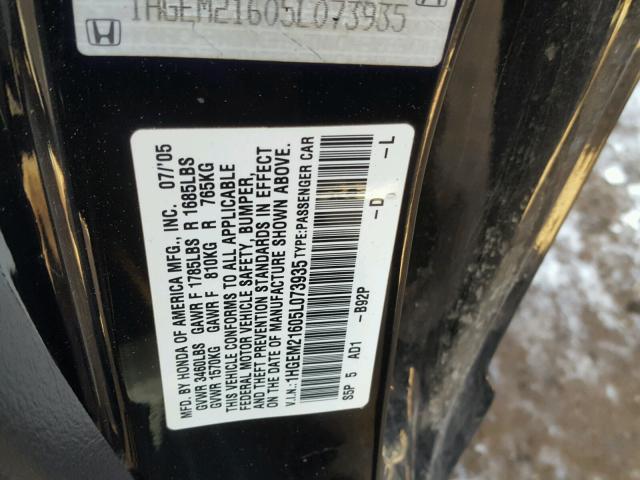 1HGEM21605L073935 - 2005 HONDA CIVIC LX BLACK photo 10