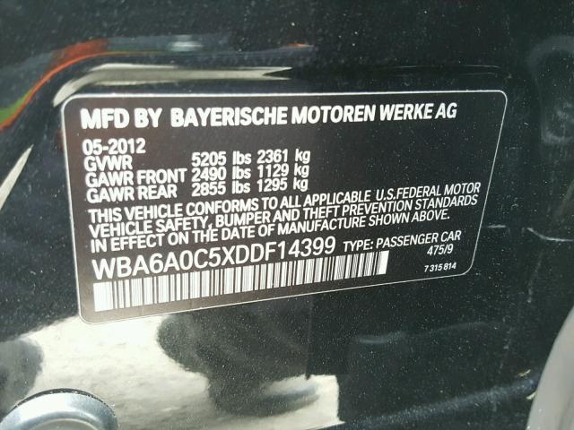 WBA6A0C5XDDF14399 - 2013 BMW 640 I BLACK photo 10