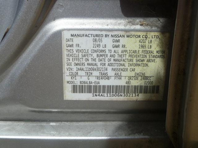 1N4AL11D06N302134 - 2006 NISSAN ALTIMA S/S SILVER photo 10
