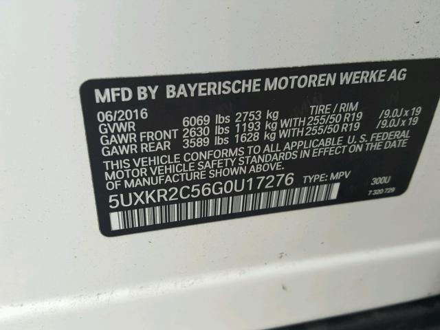 5UXKR2C56G0U17276 - 2016 BMW X5 SDRIVE3 WHITE photo 10