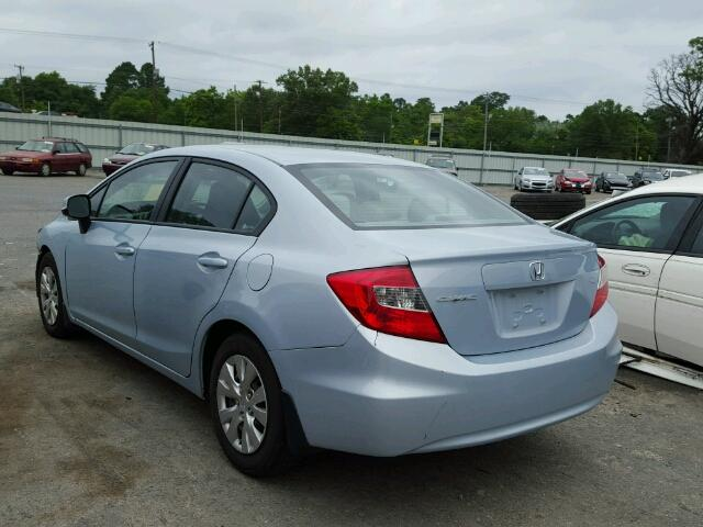 19XFB2F51CE062439 - 2012 HONDA CIVIC LX BLUE photo 3