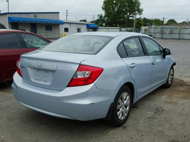 19XFB2F51CE062439 - 2012 HONDA CIVIC LX BLUE photo 4