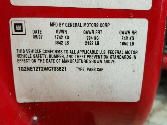 1G2NE12T2WC733621 - 1998 PONTIAC GRAND AM S RED photo 10