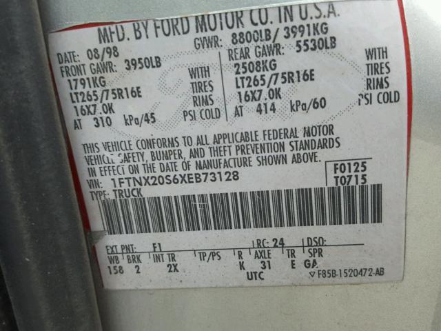 3FTNX21L64MA13750 - 2004 FORD F250 SUPER SILVER photo 10