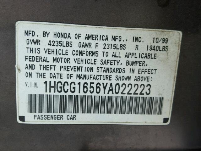1HGCG1656YA022223 - 2000 HONDA ACCORD EX GRAY photo 10