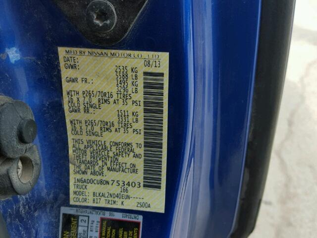1N6AD0CU8DN753403 - 2013 NISSAN FRONTIER S BLUE photo 10