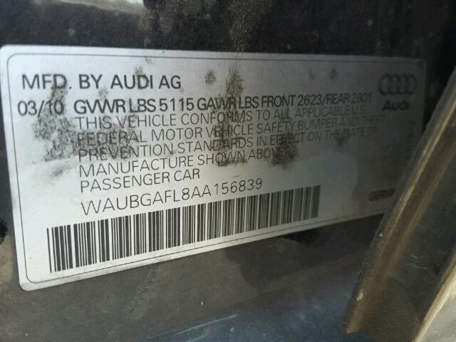 WAUBGAFL8AA156839 - 2010 AUDI S4 QUATTRO BLACK photo 10