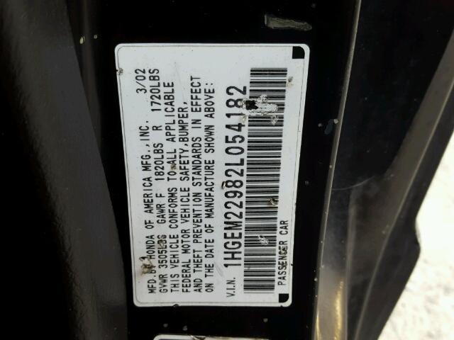1HGEM22982L054182 - 2002 HONDA CIVIC EX BLACK photo 10