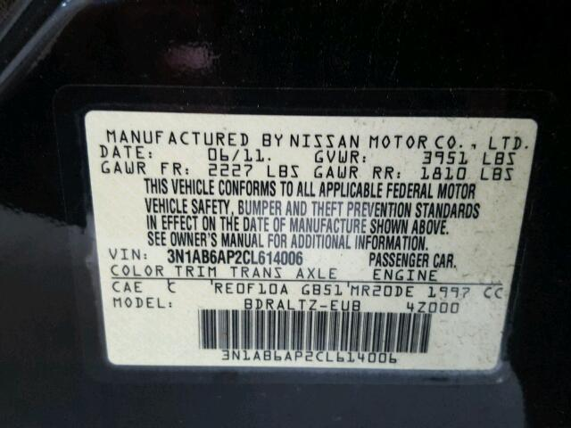 3N1AB6AP2CL614006 - 2012 NISSAN SENTRA BLACK photo 10