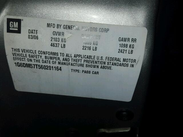 1G6DM57T560201164 - 2006 CADILLAC CTS SILVER photo 10