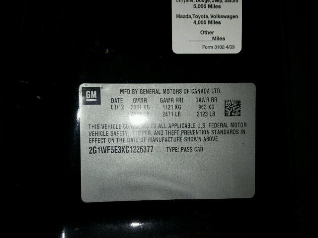 2G1WF5E3XC1226377 - 2012 CHEVROLET IMPALA LS BLACK photo 10