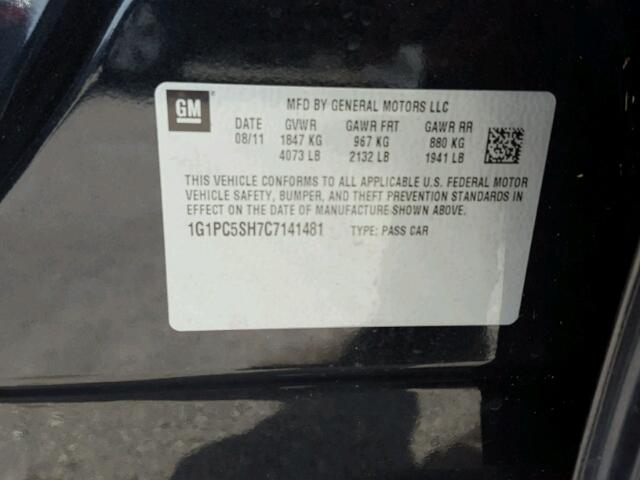 1G1PC5SH7C7141481 - 2012 CHEVROLET CRUZE BLACK photo 10