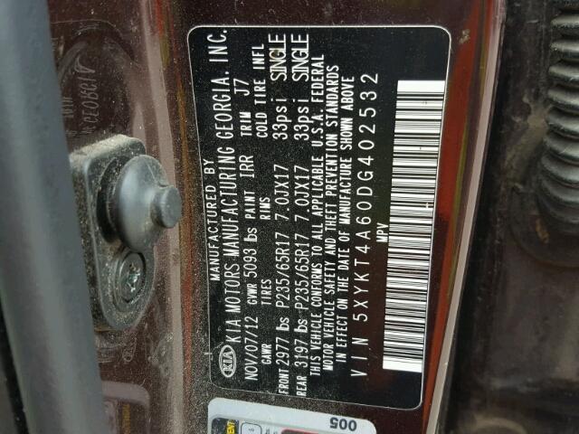 5XYKT4A60DG402532 - 2013 KIA SORENTO MAROON photo 10