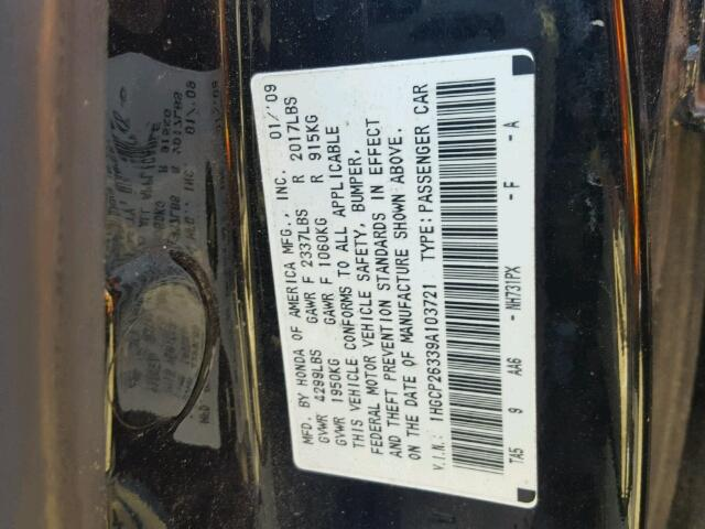 1HGCP26339A103721 - 2009 HONDA ACCORD LX BLACK photo 10