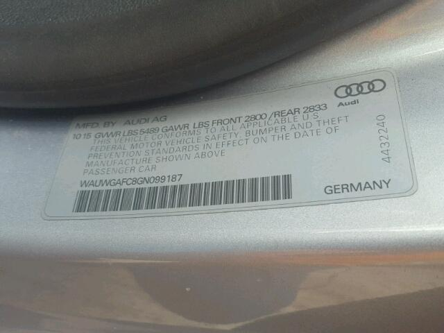 WAUWGAFC8GN099187 - 2016 AUDI A7 PREMIUM GRAY photo 10