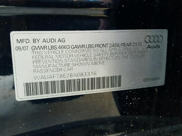 WAUAF78E28A083316 - 2008 AUDI A4 2.0T BLUE photo 10