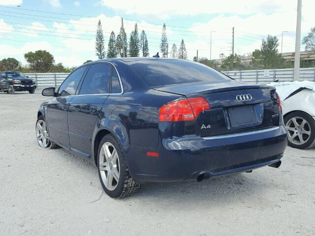 WAUAF78E28A083316 - 2008 AUDI A4 2.0T BLUE photo 3
