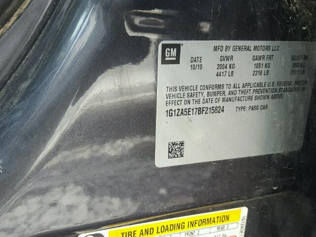 1G1ZA5E17BF215824 - 2011 CHEVROLET MALIBU LS CHARCOAL photo 10
