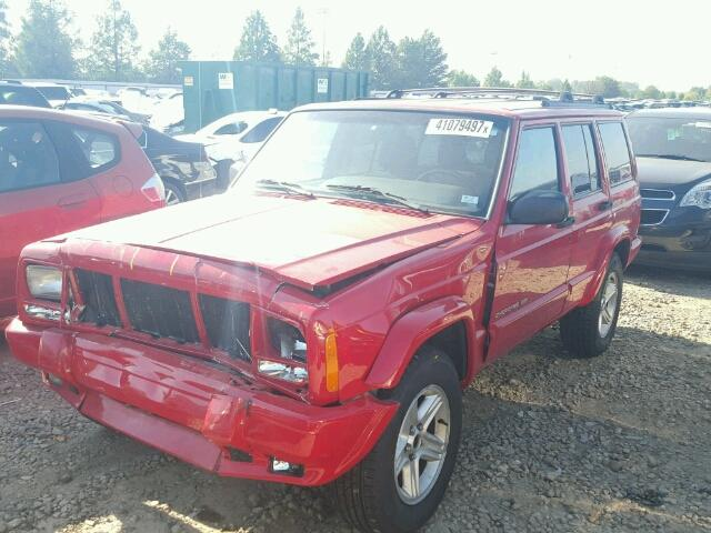 1J4FF58S91L532109 - 2001 JEEP CHEROKEE C RED photo 2