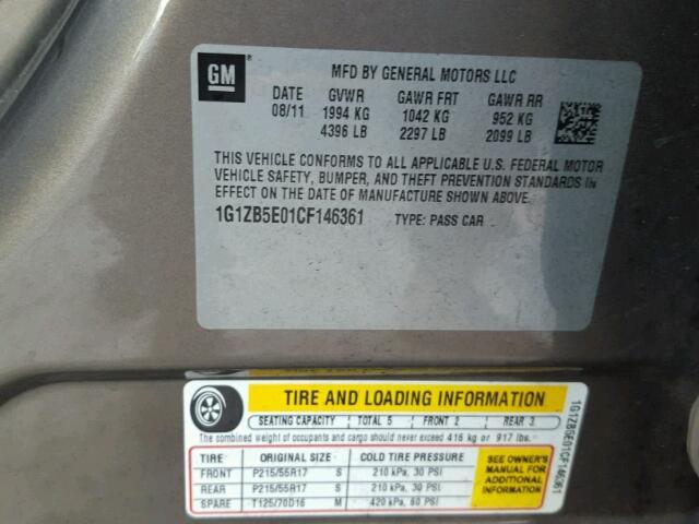 1G1ZB5E01CF146361 - 2012 CHEVROLET MALIBU LS GOLD photo 10