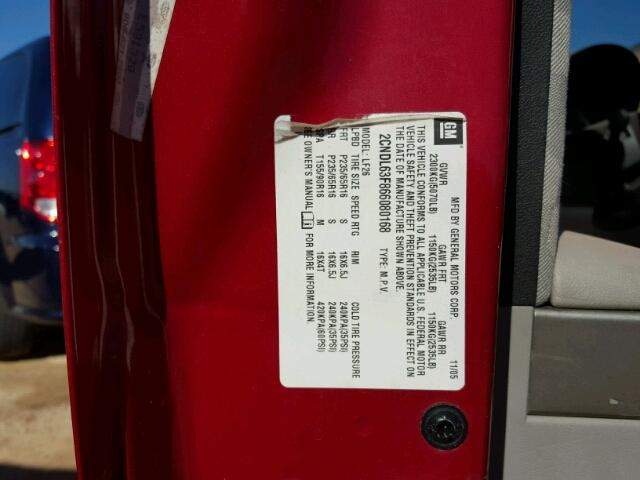 2CNDL63F866080168 - 2006 CHEVROLET EQUINOX LT RED photo 10