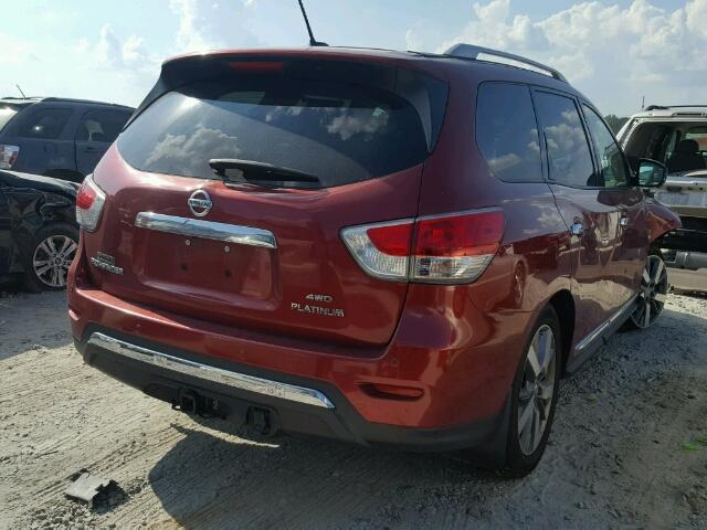5N1AR2MM4DC613497   2013 NISSAN PATHFINDER RED Photo 4